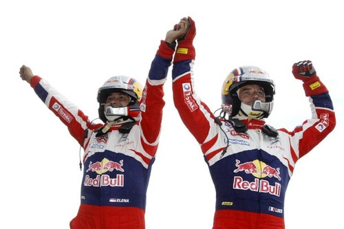 Sébastien Loeb & Daniel Elena celebrating their success in the WRC